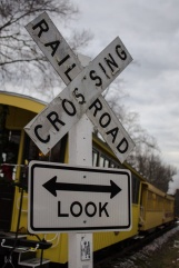 Railroad crossing sign at Glenrock Stop
